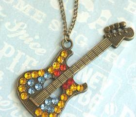 studded guitar necklace